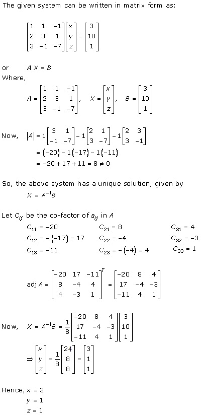 RD Sharma Class 12 Solutions Chapter 8 Solution of Simultaneous Linear Equations Ex 8.1 Q2-i