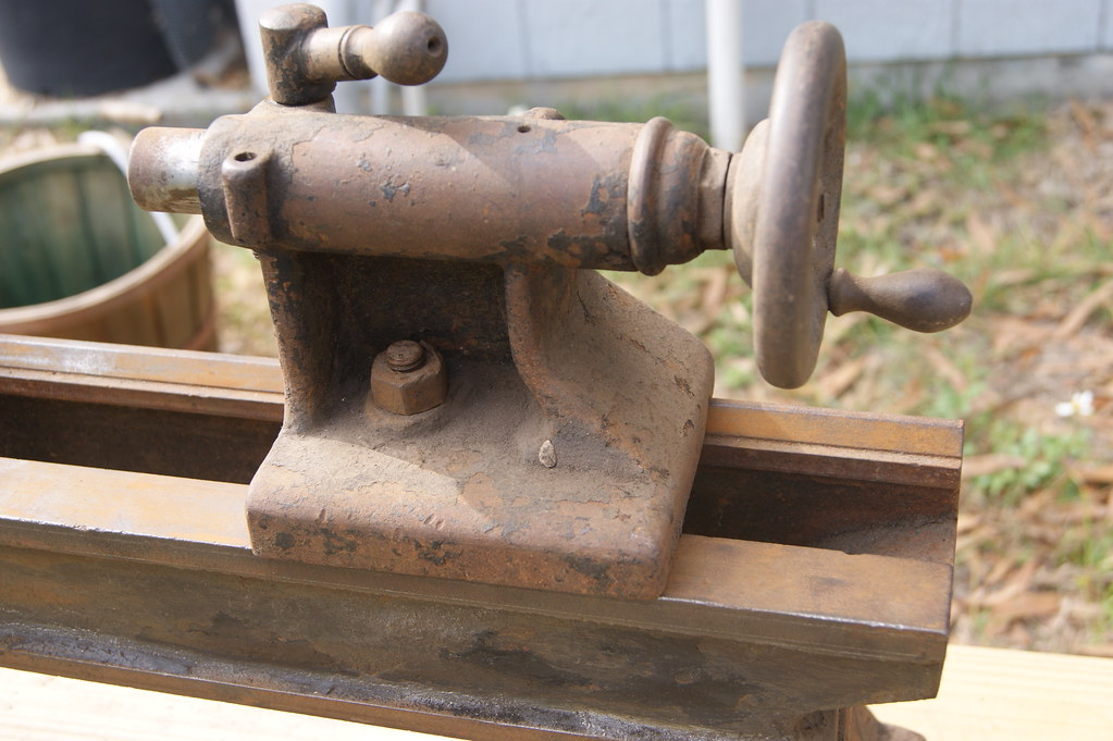 6 Vintage Wood Lathe - 8 inch bench lathe, made from a South