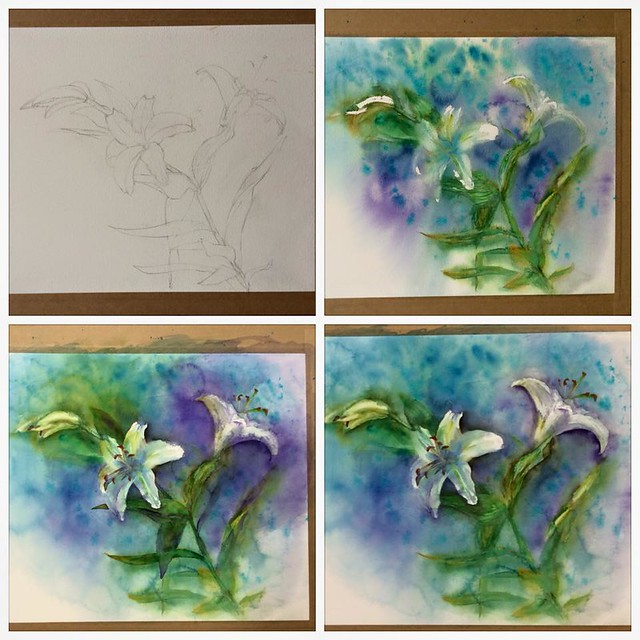 Process. Watercolour painting of lilies by Ako Lamble