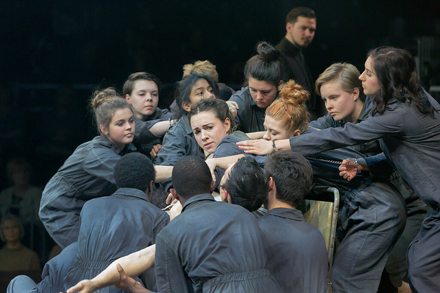 Mary Bevan as Euridice with dancers from East London Dance in Orfeo © ROH 2015. Photograph by Stephen Cummiskey