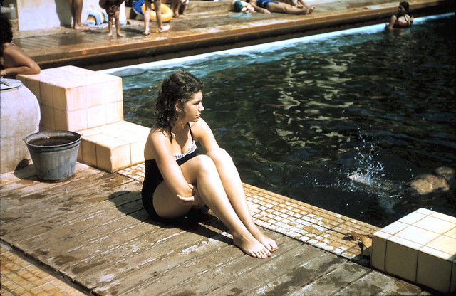 Saigon 1956 - Nina at Cercle sportif pool contemplating a plunge