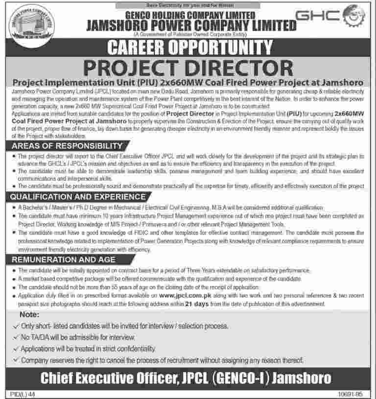 Jamshoro Power Company Limited Project Director Required