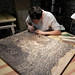 "Tugboat Printshop posted a photo:	Round the clock, night & day, carving the 28"" x 46""+  new block in progress. The ""OVERLOOK"" will be a full color print, our most ambitious project yet. Almost done carving on the key block & then onto the color!www.tugboatprintshop.com/woodcut_overlook.htm"