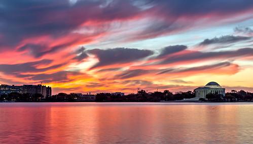 fall water clouds sunrise landscape dc background tidalbasin