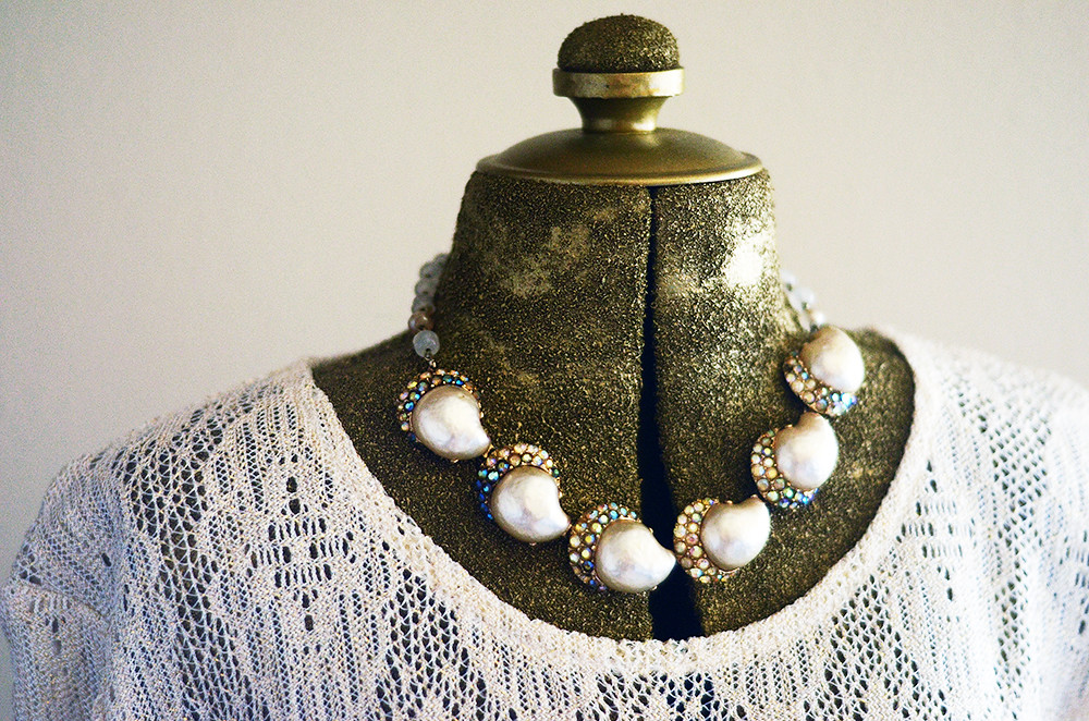 Vintage Shell and Rhinestone Necklace