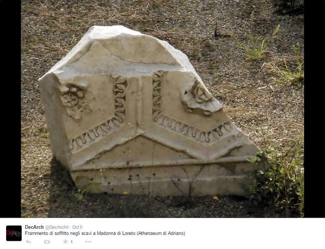 ROMA ARCHEOLOGICA e RESTAURO ARCHITETTURA: ROMA METRO C - PIAZZA VENEZIA - Frammento di soffitto negli scavi a Madonna di Loreto (Athenaeum di Adriano), di M. Milella (2014), G. De Dominicis (2011), & A. L. Lopez (2010).