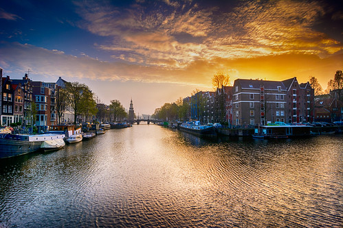 morning bridge houses light sky netherlands colors amsterdam clouds sunrise reflections boat canal day nemo oudeschans