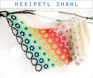 Hexipetl Shawl designed by Emma Lamb in collaboration with Gomitoli's