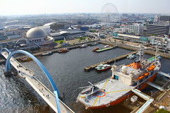 Aquarium + Giant wheel + Fuji Icebreaker - view from the lighthouse - Nagoya Port - Japan