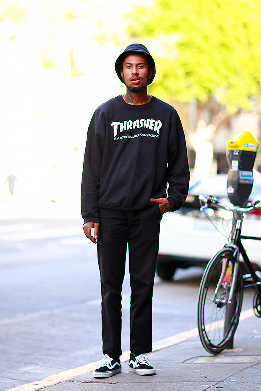 Ricky_thrashersweatshirt street style, street fashion, men, San Francisco, Quick Shots, 24th Street