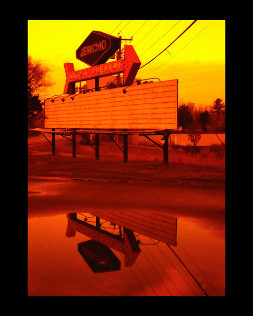 Jericho Drive-In Marquee with Redscale film