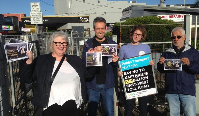 Public Transport Not Traffic campaigners (including myself) at Bentleigh station. Campaigner Tony (who worked harder than me that morning) is not pictured; he snapped the photo.