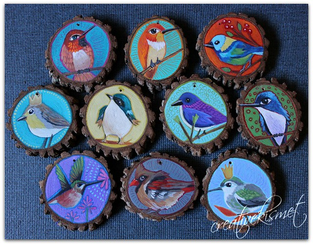 Bird Art Ornaments by Regina Lord