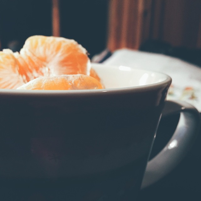 A cup with orange