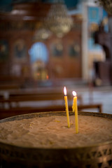 Candle at the Greek Orthodox Basilica of Saint George // Trip to Jordan