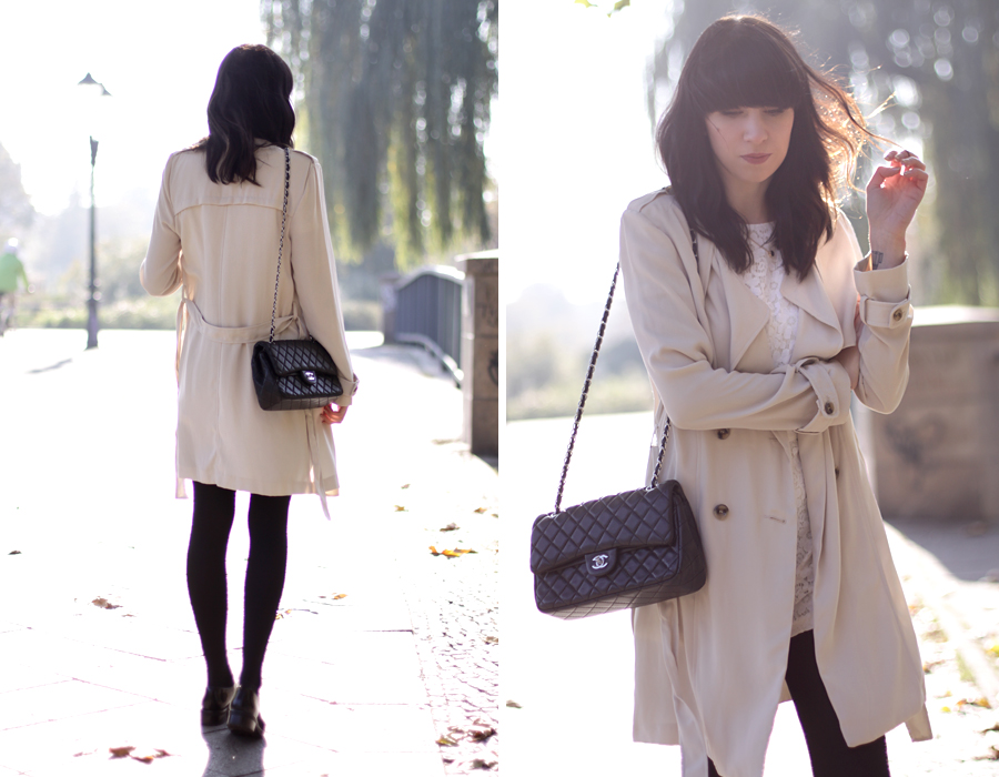 outfit trench trenchcoat beige nude autumn style fashionblogger ootd modblogger berlin chanel chic paris parisian girl fringe ricarda schernus cats & dogs blogger 2