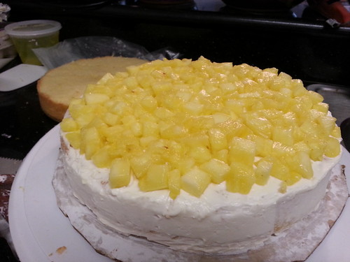 Freshly diced pineapple with pineapple buttercream