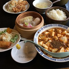 mabo tofu set 850 yen @ chaina (the karaage is hubs).... #ishibashi #chinese #lunch #osaka