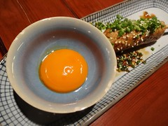 Minced Chicken on Skewer with Raw Egg Yolk @Magosa…