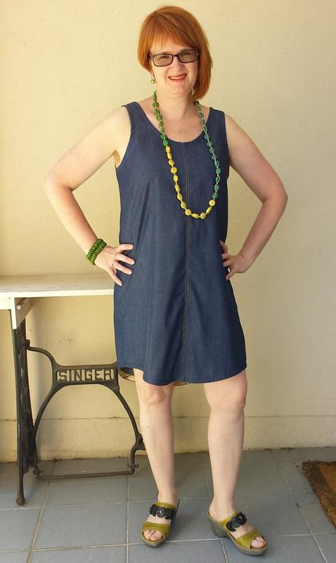 Megan Nielsen Eucalypt tank dress in chambray