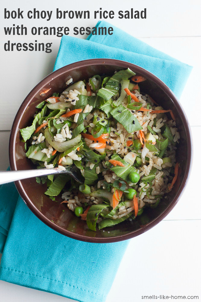 Bok Choy Brown Rice Salad with Orange Sesame Dressing
