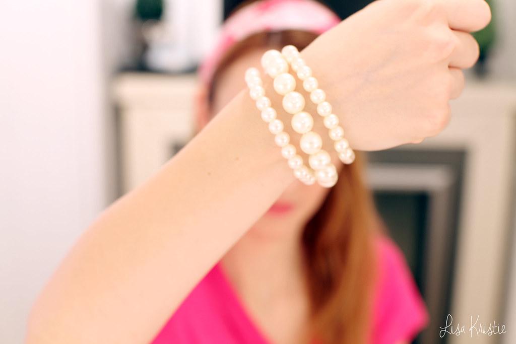 pink white pearl bracelets forever21 forever 21 haul