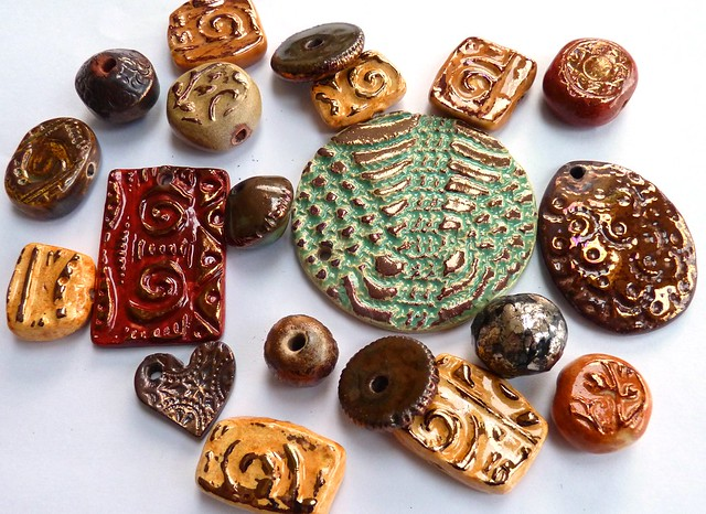 handmade ceramic beads and pendants