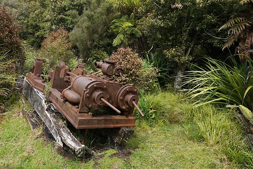 Remains of the saw mill at Māori Beach