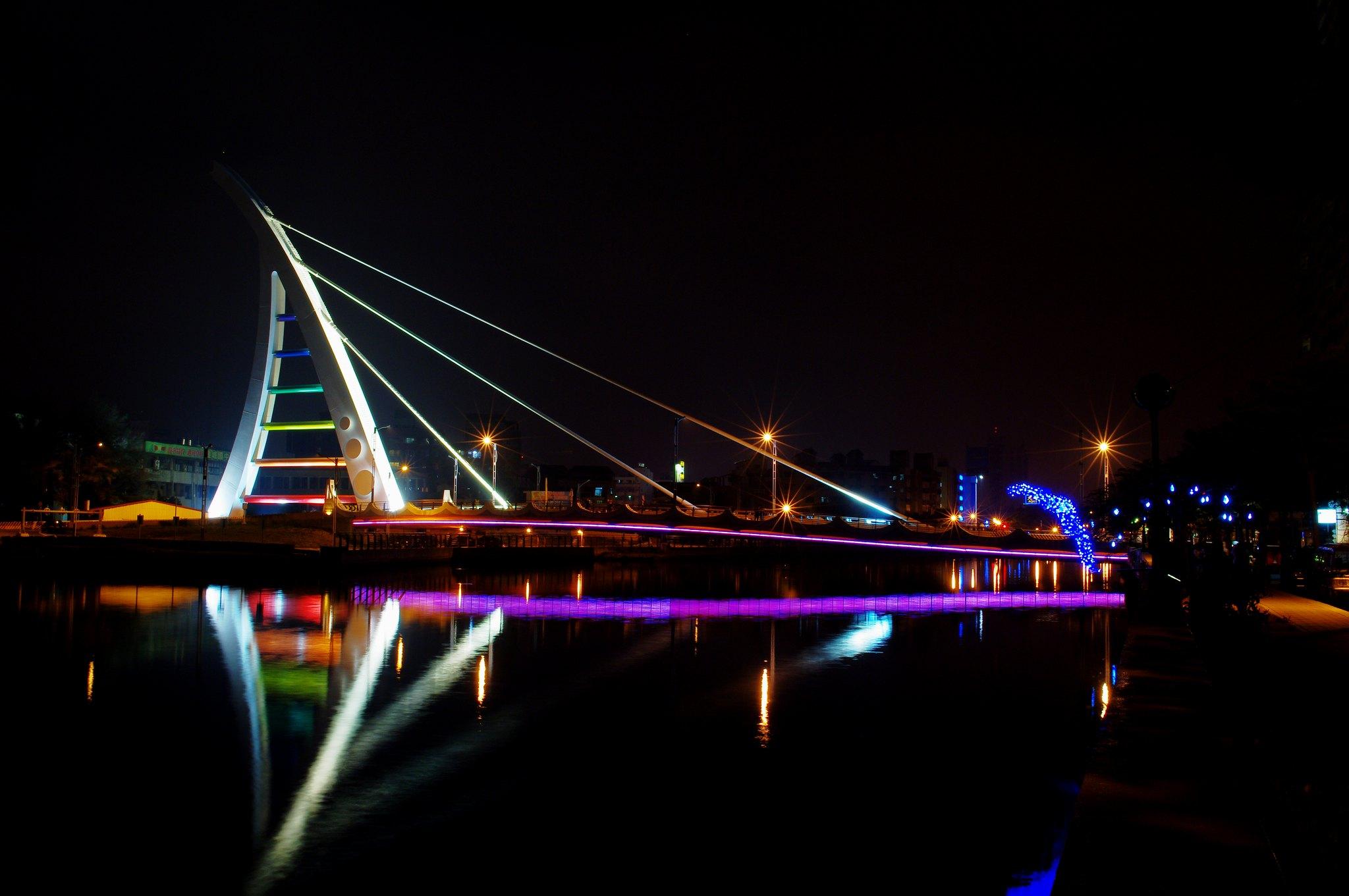 台南新臨安橋,夜景