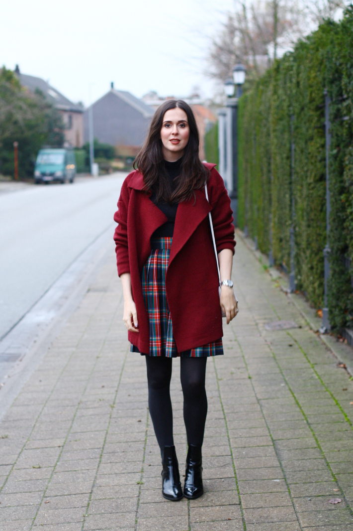 plaid skirt, patent boots, burgundy cardigan