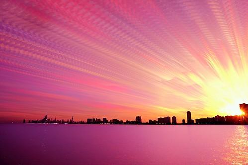 pink sunset sky chicago skyline clouds timelapse stack lakemichigan blended montroseharbor stacked blend lighten cloudtrails starstax timestack sonynex5t