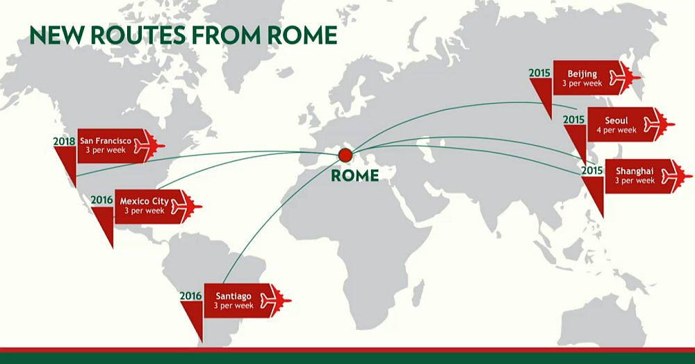 Alitalia New Routes from Rome 2016 (Alitalia)