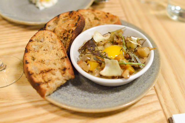 WARM MUSHROOM RAGOUT Leek Custard, Confit Egg Yolk, Firebrand Bread