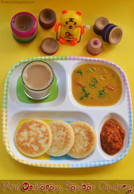 Mini Uthapam Sambar Chutney