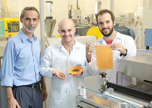 巴西科學家Luiz Henrique Mattoso(左一)和其學生展示一塊用木瓜做的可食用塑膠。(來源:Flavio Ubiali/Embrapa)