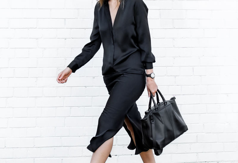 modern legacy, street style, christopher esber, silk shirt dress, workwear, navy, black