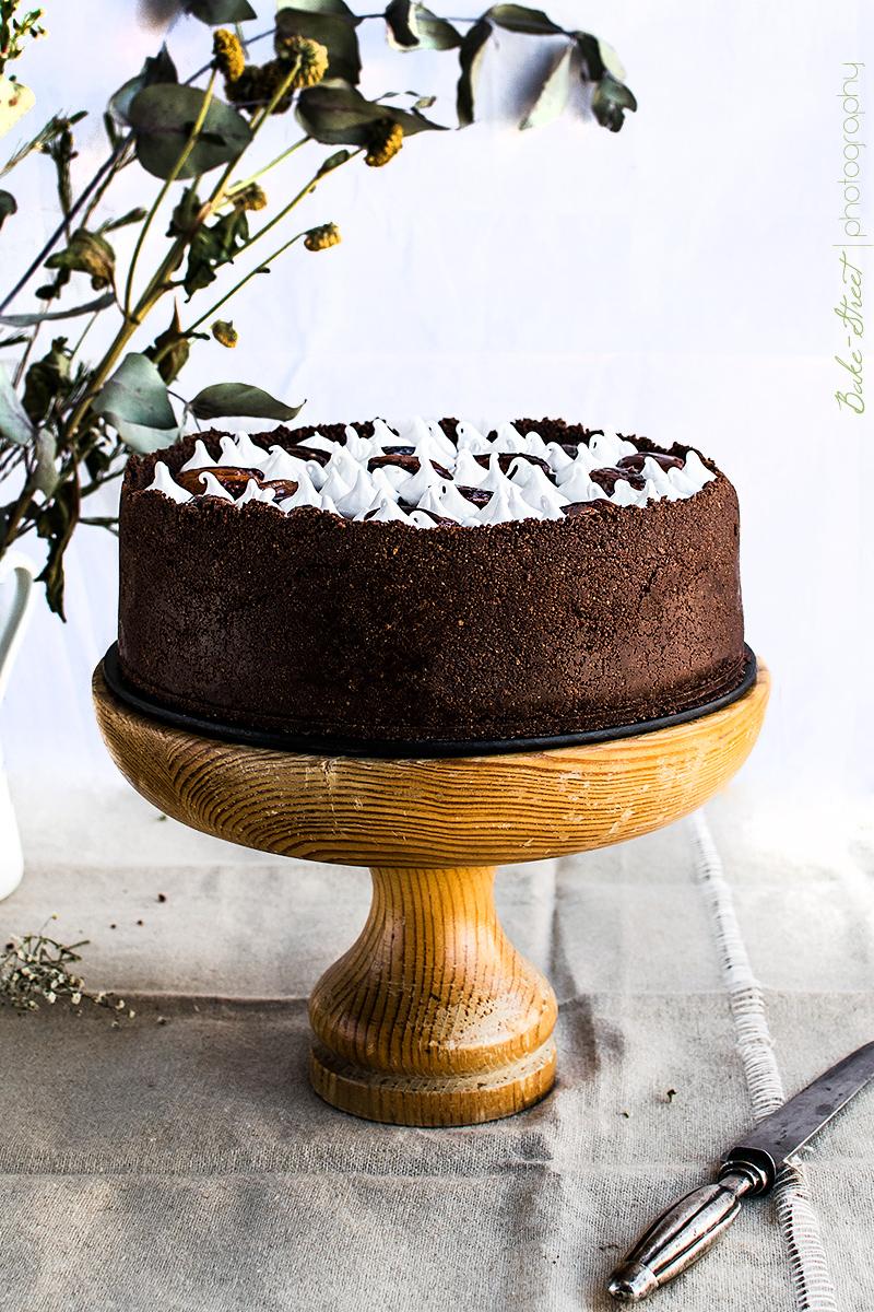 Cheesecake de chocolate con toffee de pecanas