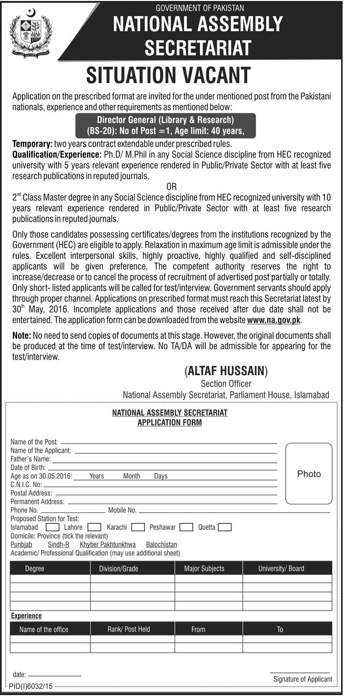 National Assembley Sectariat Director General Library and Research Required