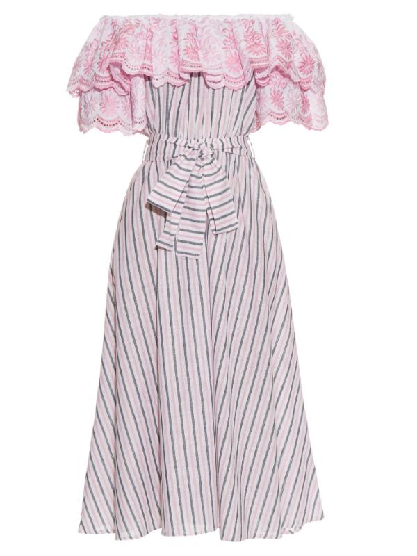 GÜL HÜRGEL off the shoulder striped midi dress. Matches Fashion. Fox Socks Blog