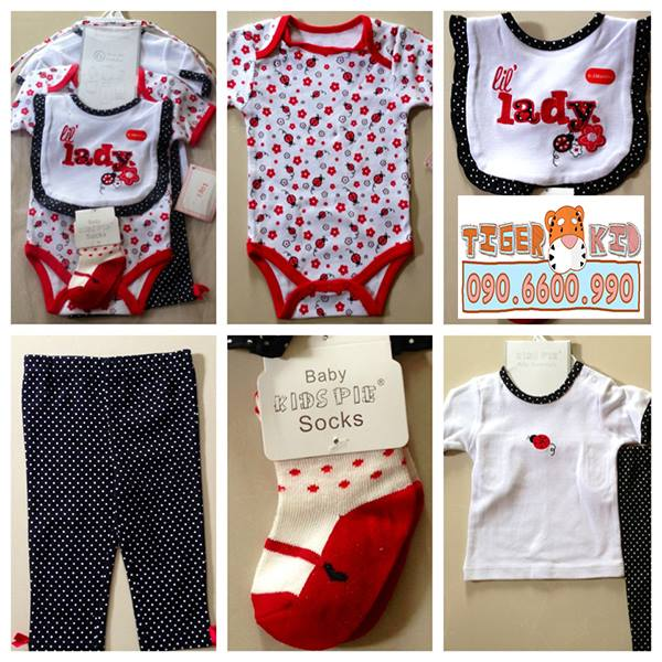 Quần áo trẻ em, bodysuit, Carter, đầm bé gái cao cấp, quần áo trẻ em nhập khẩu, Set quà tặng 6 món 0-3M