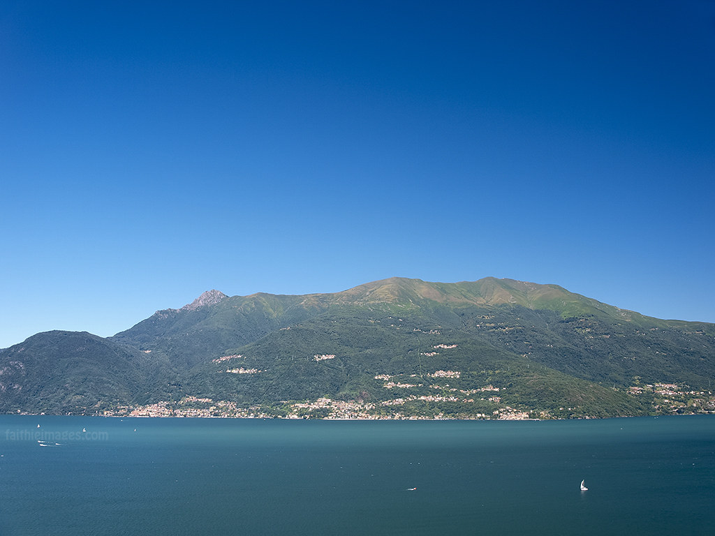 Perfect blue tones over the Alps and Como Lake in Northern Italy