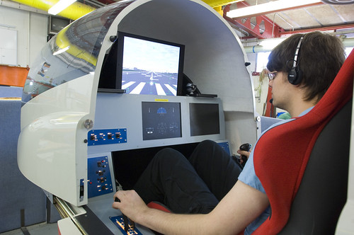 Our aerospace students have access to our flight simulator which is based on the Frenchay Campus.