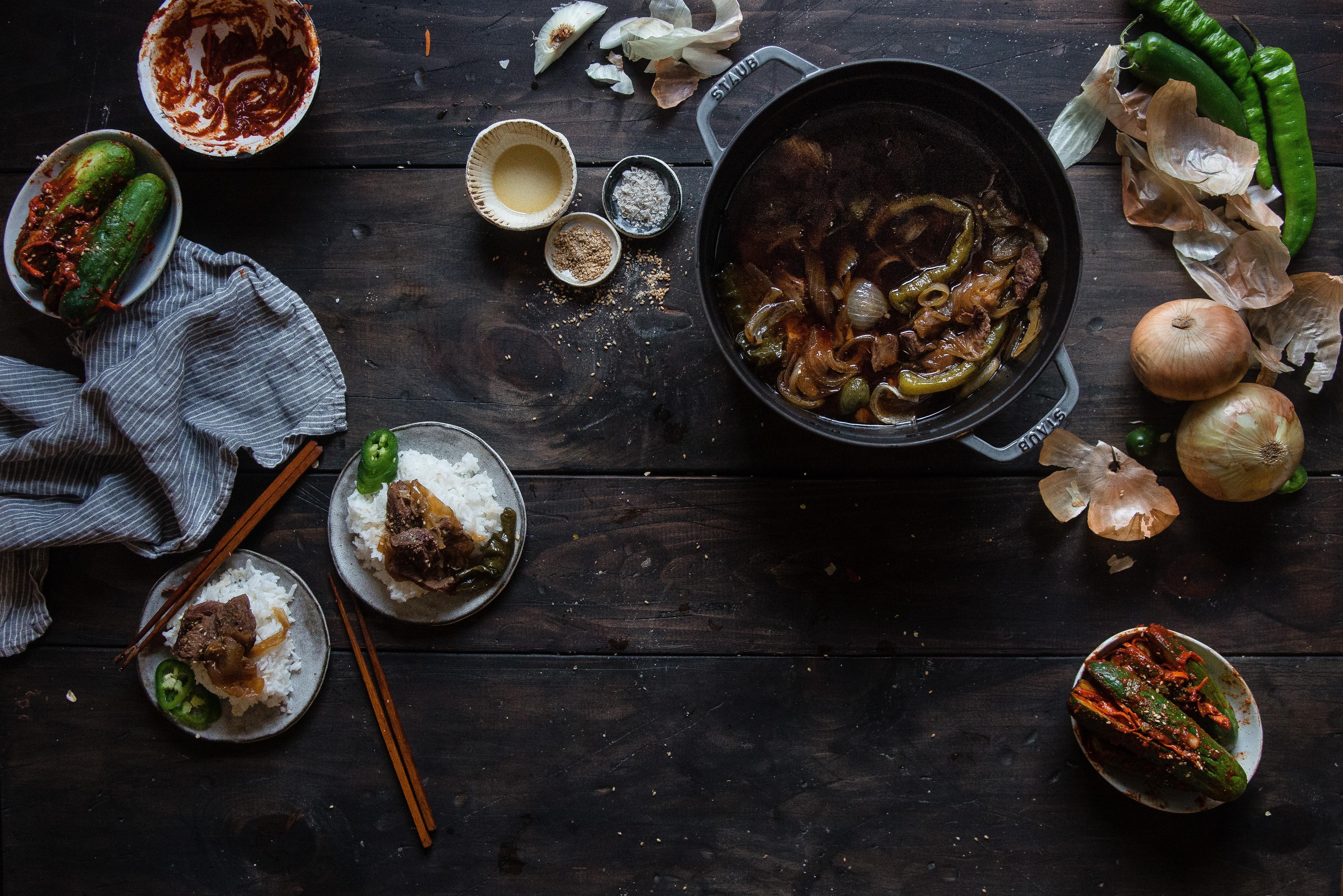 korean soy-braised beef (jang jorim) + a staub giveaway!