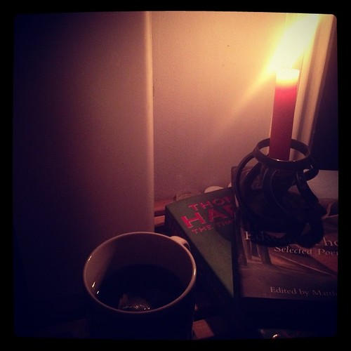 Reading Edward Thomas & Thomas Hardy by candlelight. #lightsout #100years #ww1
