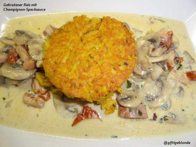 Gebratener Reis mit Champignon Specksauce