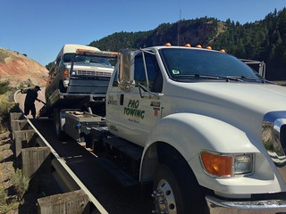Betty on her first of many tow trucks