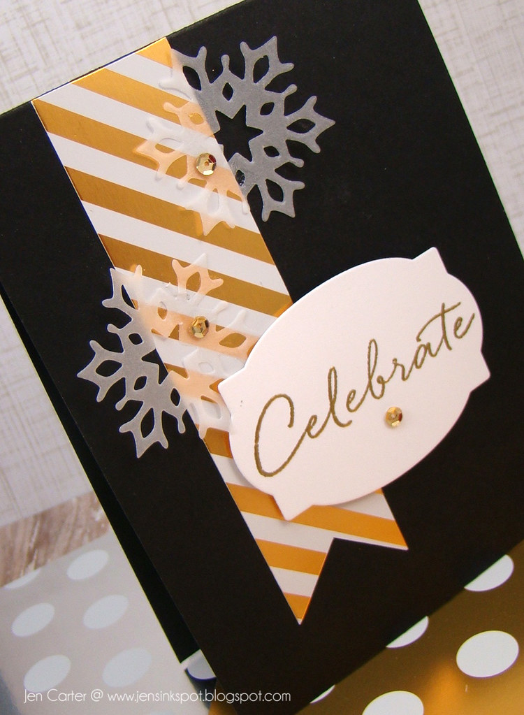 Jen Carter Gold Striped Celebrate Card Closeup