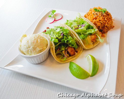 Tacos: Spicy Chicken and Honey Chili Shrimp; Kimchi Rice; Potato Salad