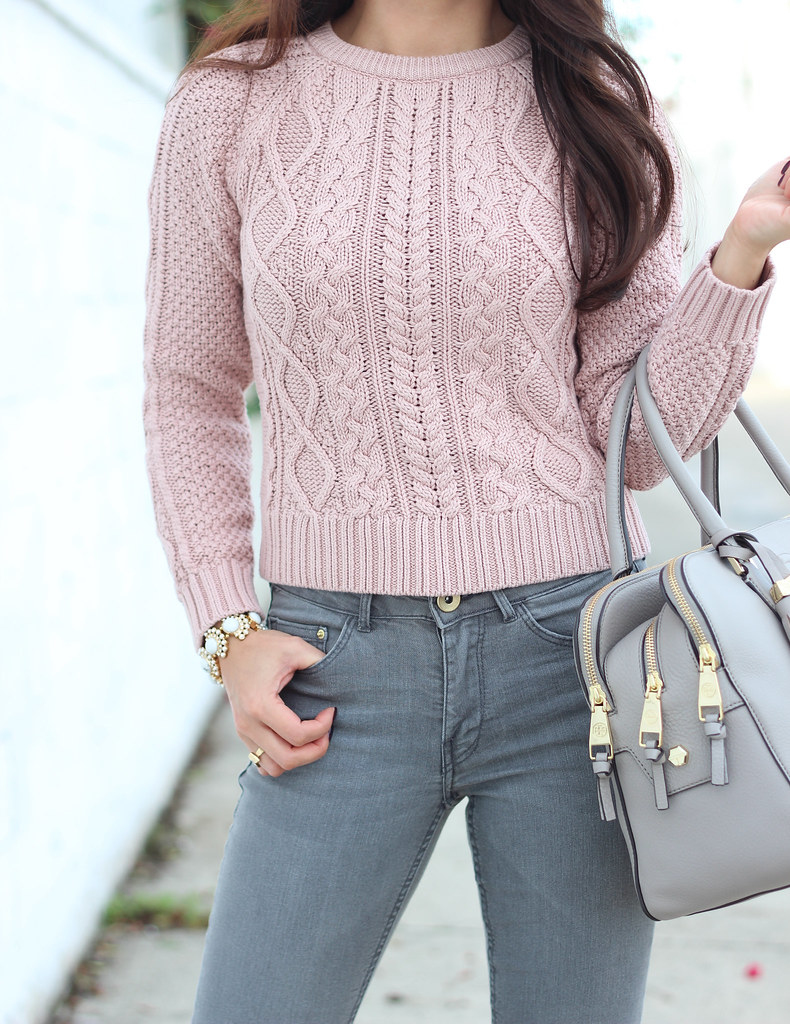 Grey Skinny Jeans, Gap Cable Sweater and J.Crew Lady Day Coat-3