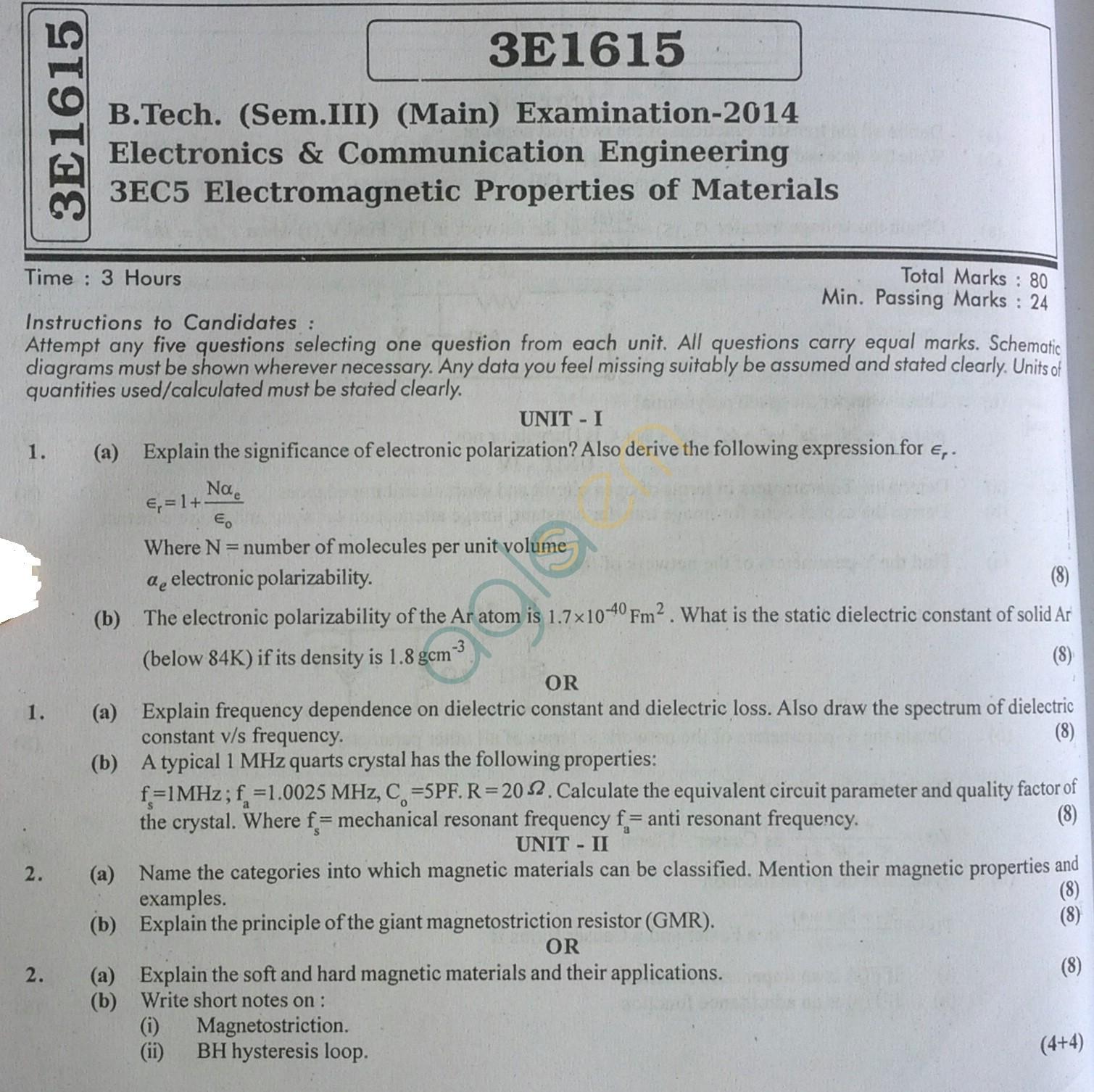 RTU: Question Papers 2014 - 3 Semester - EC - 3E1615